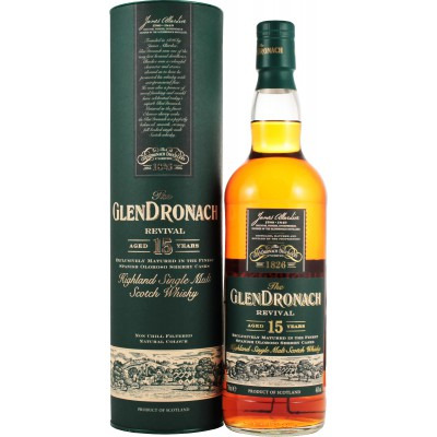 Шотландский виски 15 лет Глендронах Ревивал 15 лет Подарочная туба Glendronach Revival 15 years Gift tube