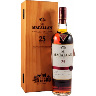 Шотландский виски 25 лет Макаллан Шерри Оук 25 лет Подарочная упаковка Macallan Sherry Oak 25 years Gift box